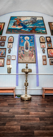 hinterland: Icons on the walls of the Orthodox Church in the Russian hinterland.