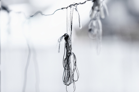 knotting: Very damaged knotted old clothesline. Close-up picture. Stock Photo