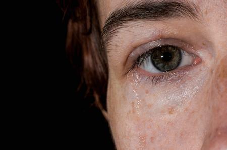 cheek: Closeup of one female eye and tear on her cheek.
