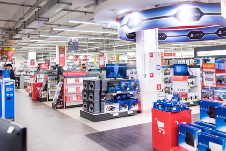 appliances: Moscow, Russia - March 8, 2016: Shop of electronics and appliances. Editorial