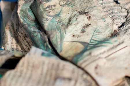creasy: Closeup picture. Surface of worn-out battered paper . Stock Photo