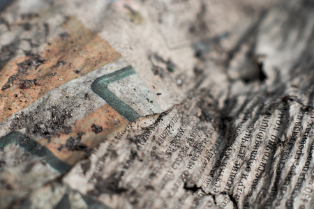 to scrape: Closeup picture. Surface of worn-out battered paper . Stock Photo