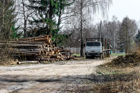 logging: Logging truck near sawmill standing around in the village street .