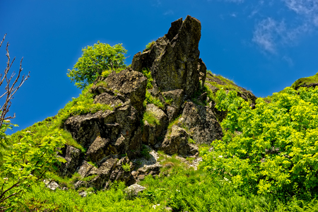 breakage: Rocks of Aibga ridge. Rosa Khutor, Sochi, Russia.