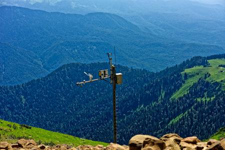 aquifer: Meteorological instrument on the top of Aibga ridge. Rosa Khutor, Sochi, Russia.