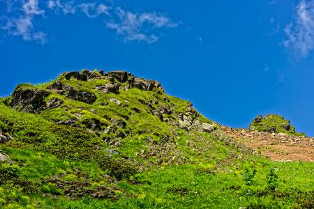 green ridge: Green slopes of Aibga ridge. Rosa Khutor, Sochi, Russia.