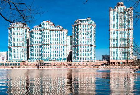 scandalous: Moscow, Russia - April 17, 2016: Residential complex Scarlet Sails (Alye Parusa). View from Moscow river.