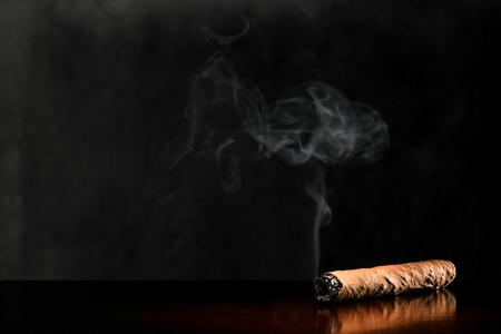 mahogany: Smoking cigar on a dark surface of mahogany wood.