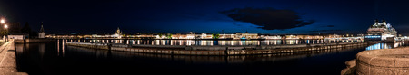 lieutenant: Night view of quay of Lieutenant Schmidt and partly English embankment, St.Petersburg, Russia. Stock Photo