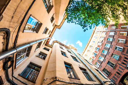 wideview: Wide view of well courtyard in St. Petersburg, Russia. Old architecture. Stock Photo