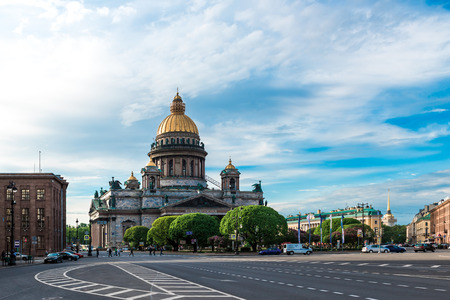 wideview: Day view of St. Isaacs Cathedral and St. Isaacs square, Saint Petersburg, Russia