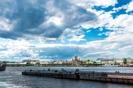 lieutenant: Quay of Lieutenant Schmidt, St.Petersburg, Russia. View from the water. Stock Photo