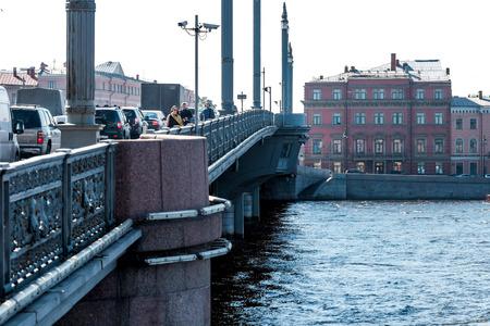 blagoveshchensky: St.Petersburg, Russia - May 16, 2016: Blagoveshchensky (Leuteinant Schmidt) bridge over Neva river. View from the bridge walker.