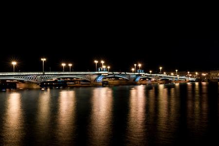 blagoveshchensky: Blagoveshchensky (Leuteinant Schmidt) bridge in St.Petersburg, Russia. Wide  night view from English embankment.