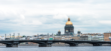 blagoveshchensky: Blagoveshchensky (Leuteinant Schmidt) bridge and St.Isaacs Cathedral in St.Petersburg, Russia. Wide view from Leuteinant Schmidt embankment.