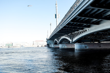 blagoveshchensky: Blagoveshchensky (Leuteinant Schmidt) bridge over Neva river in St.Petersburg, Russia. View from the bridge walker. Stock Photo