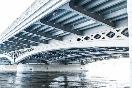 lieutenant: Blagoveshchensky (Leuteinant Schmidt) bridge over Neva river in St.Petersburg, Russia. Closeup view from English embankment.