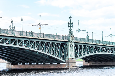 neva: Troitsky bridge in Saint-Petersburg, Russia. View from Neva river.
