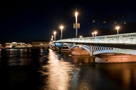 blagoveshchensky: Blagoveshchensky (Leuteinant Schmidt) bridge in St.Petersburg, Russia. Closeup night view from English embankment.