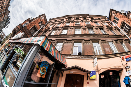 wideview: St.Petersburg, Russia - May 18, 2016: House on Rubinsteina street. Cafe Tres Amigos.