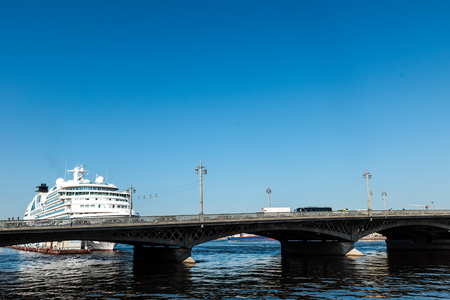 liner: Cruise liner moored at English embankment, St. Petersburg, Russia