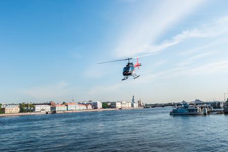 helipad: St.Petersburg, Russia - May 17, 2016: helipad over the Admiralty Embankment, Neva River.