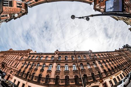 wideview: St.Petersburg, Russia - May 18, 2016: Houses on Rubinsteina street. Wine shop.