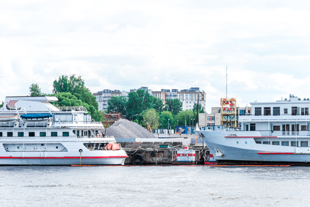 passenger ships: St.Petersburg, Russia - May 17, 2016:  Passenger ships moored at Neva port.