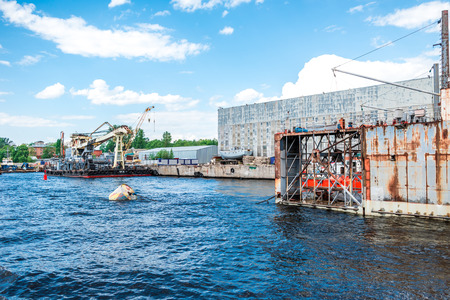 malaya: St.Petersburg, Russia - May 17, 2016: Working process at Malaya Neva river port. Editorial