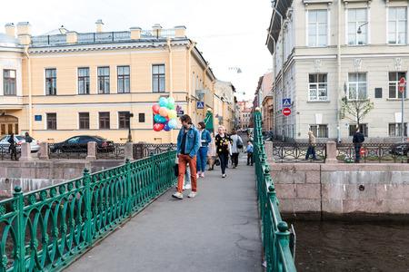 piter: Saint Petersburg, Russia - May 16, 2016: Pochtamtsky bridge on Moyka river.