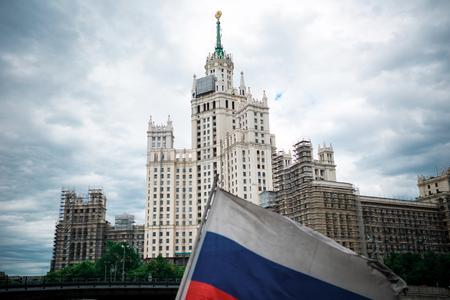kotelnicheskaya embankment: Moscow, Russia - June 5, 2016: One of Stalin skyscrapers - the house on Kotelnicheskaya Embankment.