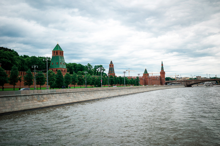 parapet wall: Moscow, Russia - June 5, 2016: Red Square. Moscow Kremlin. Editorial