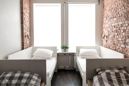 piter: St.Petersburg, Russia - May 16, 2016: New Holland hostel room interior details.