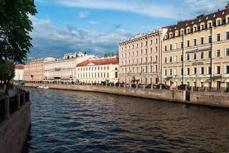 residental: St.Petersburg, Russia - May 16, 2016: Historical residental buildings over Moyka River.