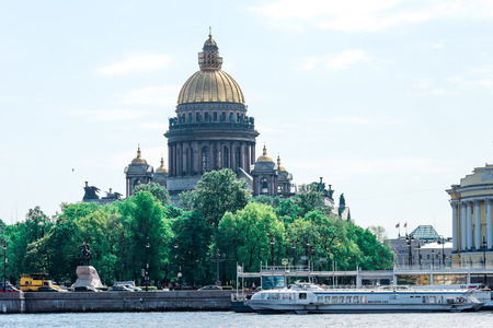 wideview: St.Petersburg, Russia - May 16, 2016: Day view of St. Isaacs Cathedral from Vasilyevsky island. Editorial