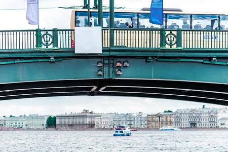 piter: St. Petersburg, Russia - May 17, 2016: Birzhevoy (Exchange) draw bridge. View from the water.