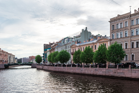 river side: St.Petersburg, Russia - May 16,  2016: Illustative shot of architecture and everyday life on Moyka River side.