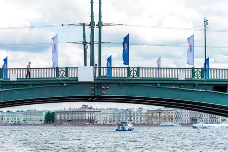 draw bridge: St. Petersburg, Russia - May 17, 2016: Birzhevoy (Exchange) draw bridge. View from the water.