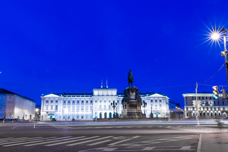 nightview: St.Petersburg, Russia - May 20, 2016: Monument to Emperor Nicholas I, 1859 (sculptor PK Klodt, architect AA Montferrand). Nightview.