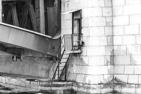 draw bridge: Detail of Birzhevoy (Exchange) draw bridge. View from the water. Stock Photo