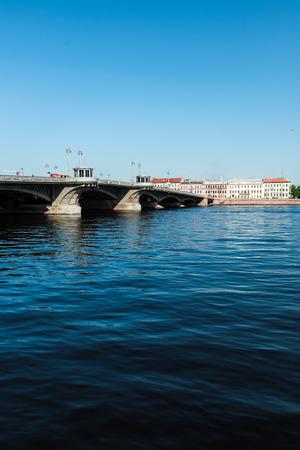 blagoveshchensky: Blagoveshchensky (Leuteinant Schmidt) bridge over Neva river in St.Petersburg, Russia. View from English embankment.