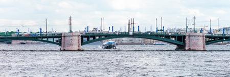 draw bridge: Birzhevoy (Exchange) draw bridge. View from the water.