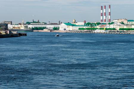blagoveshchensky: St.Petersburg, Russia - May 16, 2016: Banks of Neva river. View from Blagoveshchensky bridge.