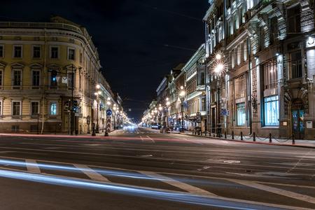 piter: St.Petersburg, Russia - May 19, 2016: Night view of Nevsky avenue (Nevsky prospect).