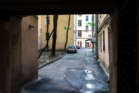 tilt views: St. Petersburg, Russia - May 16, 2016: Back yard of old apartment building.