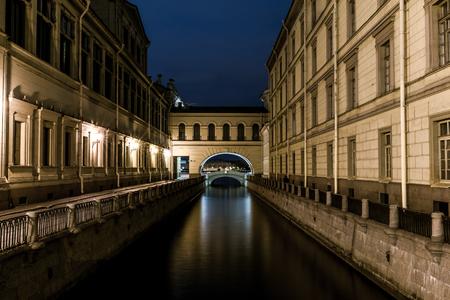 nightview: Nightview of Winter Canal (Zimnyaya kanavka) view from Hermitage bridge, St. Petersburg, Russia.
