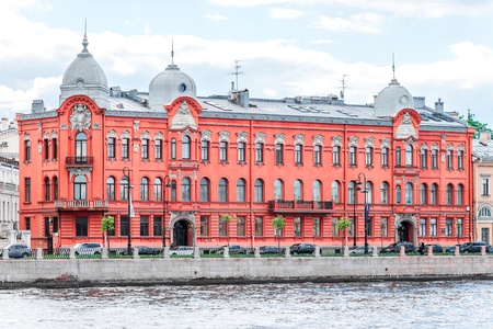 piter: St. Petersburg, Russia - May 17, 2016: Historical buildings of embankment at Vasilyevsky Island, St.Petersburg, Russia. View from the water.