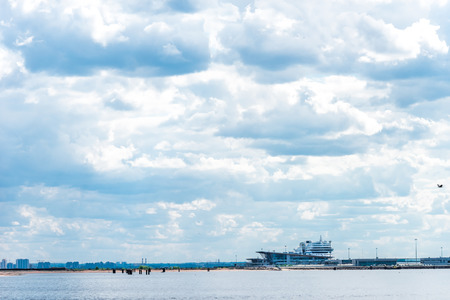 passenger ships: St.Petersburg, Russia - May 17, 2016: Passenger ships moored at Neva port Marine Facade.