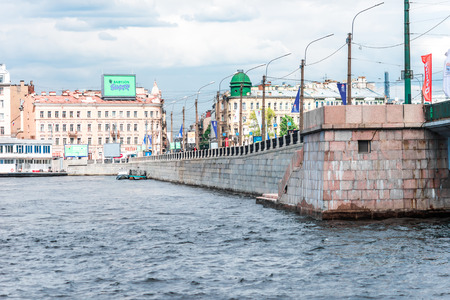 malaya: St.Petersburg, Russia - May 17, 2016: Tuchkov bridge over Malaya Neva river.