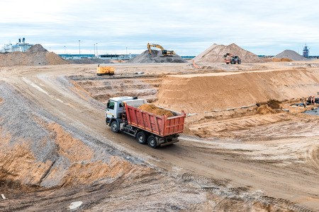 light duty: St.Petersburg, Russia - May 19, 2016: Construction machines at quarry. Editorial